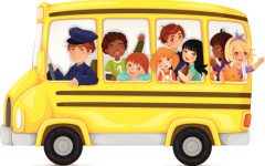 Yellow school bus full of cute and happy kids.